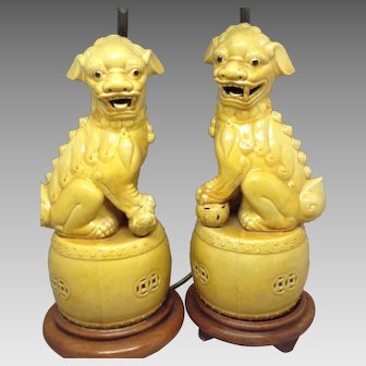 Yellow Chinese Foo Dog Lamps