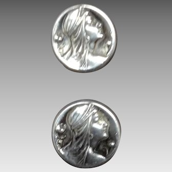 Pair of Art Nouveau Sterling Pins