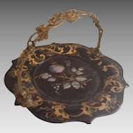 19th Century China Trade Lacquer Serving Plate with Bronze Ormolu handle and Inlaid Mother of Pearl