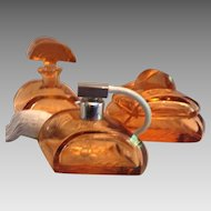 Czech Deco Peach Three Piece Dresser Set
