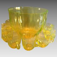 Fabulous Turn of Century Vaseline Glass Punch Bowl and Cups