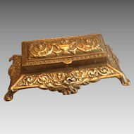 19th Century Decorative Brass Three Section Stamp Holder