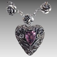 Fabulous Chunky HOBE Sterling Heart Bracelet with Purple Stone
