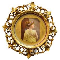 Antique Royal Vienna Porcelain Framed Beauty
