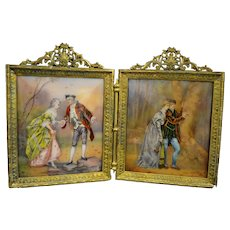 A French Limoges Enamel Two Panel Diptych