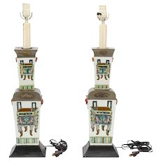 A Pair of Chinese Porcelain Lamps, mid 19th century.