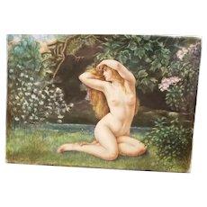 Antique KPM Style Porcelain Plaque of a Nude Forest Beauty