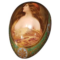 A Royal Vienna Porcelain Egg Shape Covered Box with Beauty