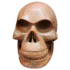 A Stunning & Rare Carved Stone Human Skull