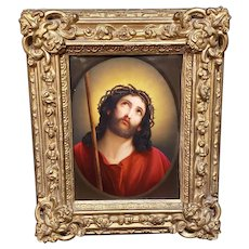 A Berlin KPM Porcelain Plaque of Jesus after Guido Reni