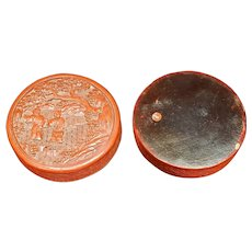 A Chinese Carved Cinnabar circular Covered Box