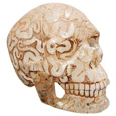 A Carved Rock Crystal Human Skull