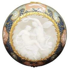A Magnificent Meissen Porcelain Pate sur Pate Circular Box, 19th Century