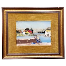 An Italian Pitere Dure Inlaid Framed Plaque