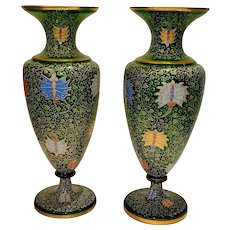 A Pair of Large Enameled Glass Green Vases with Butterflies