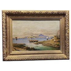 A Beautiful Oil Painting of an Italian Seascape, signed Regina