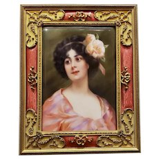 A Very Fine Porcelain Plaque in a Pink Guilloche Bronze & Enamel Frame