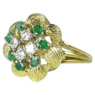1980s Emerald Diamond & 18kt Gold Cluster Ring