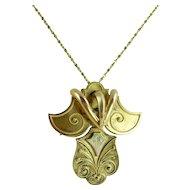 Unique Victorian 14kt Gold Pendant/Brooch & 14kt Gold Chain