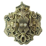 Antique Seed Pearl Taille D'Epargne Enamel & 12kt Gold Pendant/Brooch