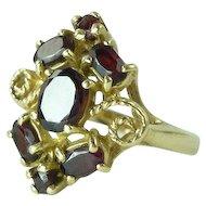 Vintage Garnet & 14kt Gold Cluster Ring