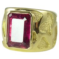 Dramatic 1980s 10.30ct Rubellite & 18kt Gold Woman's Wide Band Ring by Andrew Clunn
