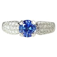Vintage Cornflower Blue 1.00ct Sapphire Diamond & 18kt Gold Ring by Jabel