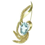 Glamorous Mid-Century Retro 11.7ct Aquamarine & 18kt Gold Brooch