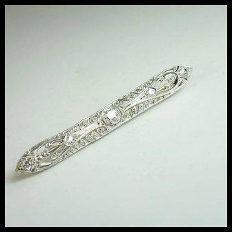 1920's Diamond & Platinum Bar Pin