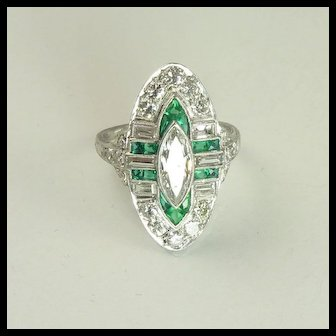 Stunning Art Deco Diamond Emerald & Platinum Navette Ring