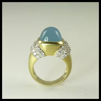 1990s Marlene Stowe Blue Beryl Diamond & 18kt Gold Ring