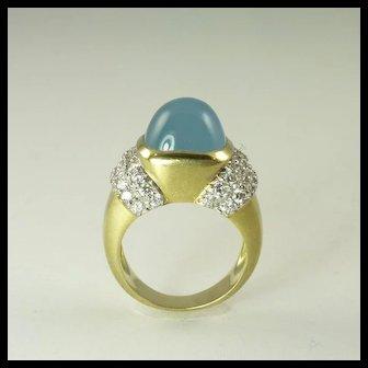 1990s Marlene Stowe Blue Beryl Diamond & 18kt Gold Ring