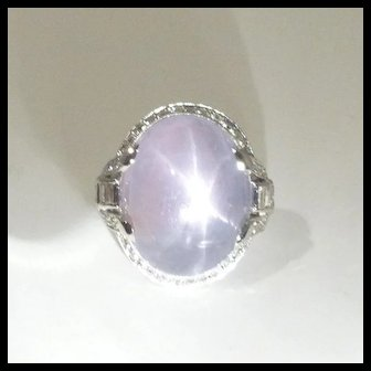 Stunning Art Deco Natural 28.0ct Star Sapphire, Diamond & Platinum Ring