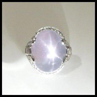 Stunning Art Deco Natural 28.0ct Star Sapphire, Diamond & Platinum Ring