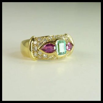 Vintage Tourmaline, Diamond & 18kt Gold Ring