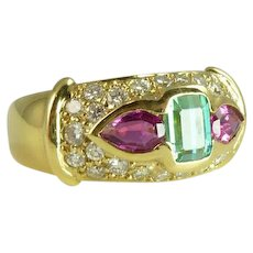 Vintage Tourmaline, Diamond & 18kt Gold Ring