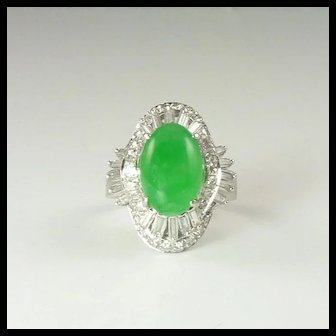 Certified Natural Jade Diamond & 14kt Gold Ring