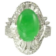 Certified Natural Jade Diamond & 14kt Gold Ring