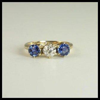 Superb Edwardian 1.20cttw Sapphire Diamond & 14kt Gold Ring
