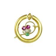 Art Nouveau Diamond Emerald Pink Sapphire Pearl & 14kt Gold Pin