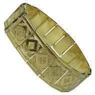 Extraordinary Mid-Century 14kt Gold Plaque Link Bracelet