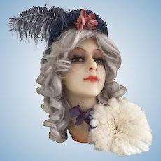 Wax mannequin head bust 1920 doll boudoir French