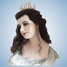1890 Wax Mannequin head very Rare Pale wax