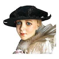 Antique French Renaissance Theater Hat Velvet Beaded