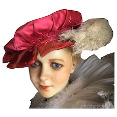 Antique French Renaissance Theater Hat Velvet Feathers