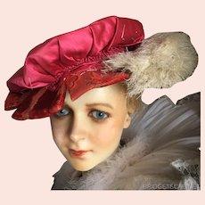 Antique French Renaissance Theater Hat Velvet Feathers