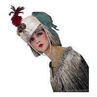 Antique Paul Poiret Style Hat Turban 1920s Follies Bergeres Showgirl Flapper