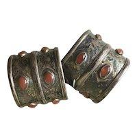 Antique Turkmen Silver Cuff Bracelets Tribal Turkoman Carnelian