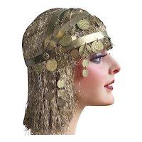 Antique 1920s Showgirl Burlesque Bellydance Headdress Costume Egyptian Revival