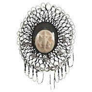 Antique French Religious Hand-made Ornament Diorama globe dome